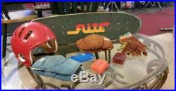 1970's Flitewood Skateboard Gullwing Kryptonics Gloves Kneepads Helmet Pads