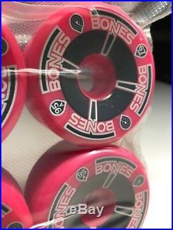 1980's Vintage NOS Powell Peralta T-Bones Skateboard Wheels pink Neon 95A 67mm