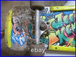 1986 Vintage Santa Cruz Jeff Kendall Graffiti Silver skateboard