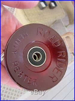 4 set UNUSED 70s skateboard wheels ROAD RIDER urethane HENRY HESTER red BEARINGS