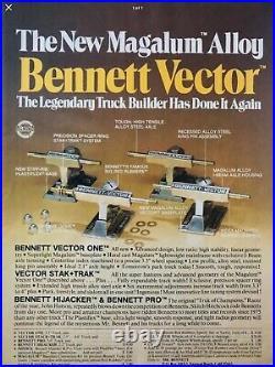 EXTREMELY RARE 1970/80's MAGNESIUM BENNETT VECTOR STACK TRACK SKATEBOARD TRUCKS
