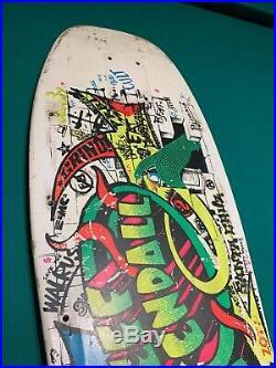 Jeff Kendall Santa Cruz Graffiti White Original 1986 Used Skateboard Deck