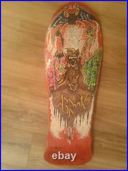NOS Vintage ZORLAC Mark Barry Abrook AUTOGRAPHED Ghoul Skateboard Deck
