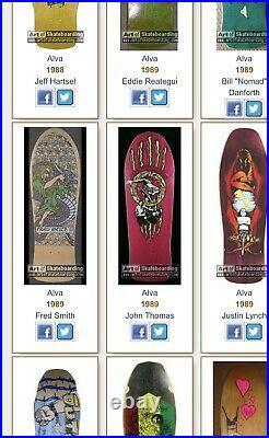 Nos skateboard vintage 80s Alva Fred Smith Ill