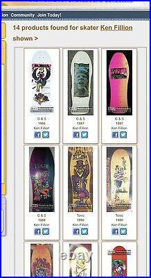 Nos vintage 1980s G&S Ken Fillion skateboard deck