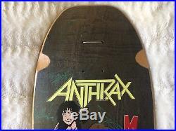 Rare OG Signed Anthrax Vintage Skate Punk Skateboard Band Deck Brand X Metallica