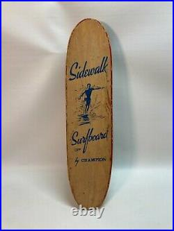 Rare Vintage 60's Wooden Sidewalk Surfboard By Champion Longboard Skateboard