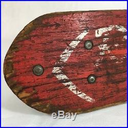 Vintage 1960's Roller Derby Wood Skateboard Deck Metal Wheels All Original Parts