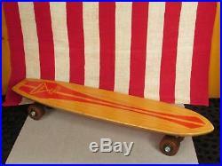Vintage 1960s Nash Goofy Foot Wood Skateboard 23 Great Graphic Skate Surf Nice
