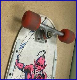 Vintage 1980's Valterra Skateboard Jinn Demon Deck Aluminum Trucks Red Wheels