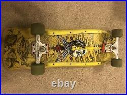 Vintage 1980s Powell Peralta Rare Yellow Skull & Sword GeeGah Skateboard