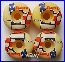 Vintage 90's Original Rare (4) Fuct Skateboard Wheels 58mm