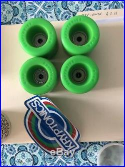 Vintage Kryptonics White Core skateboard Wheels 60mm Green NOS in Can
