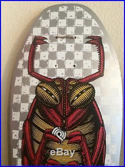 Vintage NOS 1987 Powell Peralta Team Bug Skateboard Deck Silver Red Metallic