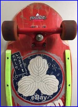 Vintage OG Tracker Lester Kasai Designs Oak Leaf Complete Skateboard Indy Trucks