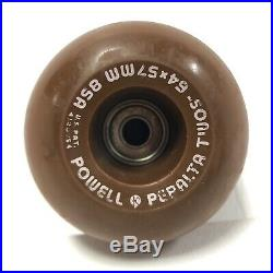 Vintage Powell Peralta BROWN Bones TWOs Skateboard Wheels 64x57mm 85A Cubics