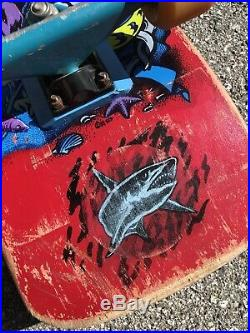 Vintage Santa Cruz Jason Jessee Neptune Shark Tail Skateboard Slimeball Trackers