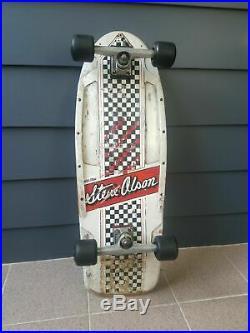 Vintage Santa Cruz Steve Olson Checkerboard Racing Stripe OG 1981 skateboard