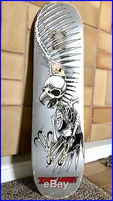 Vintage Tony Hawk Birdhouse 2007 Silver Flight Skateboard Deck Full Skull Ex+