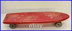 Vintage Wooden 1960s Skateboard RED SOKOL Surf Graphic 16, Steal Wheels
